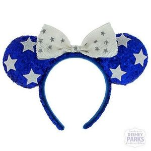 Disney Parks Blue Patriotic Minnie Ears